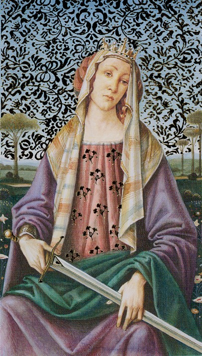 Rainha de Espadas - Golden(es) Botticelli Tarot