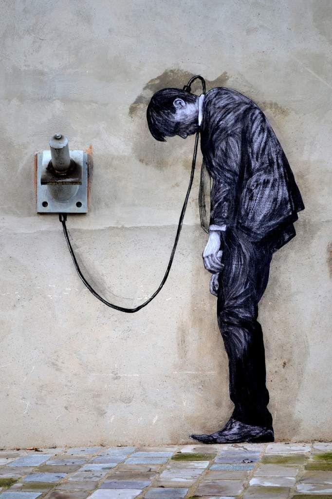 Reload (detalhe) - Street art por Levalet (Charles Leval, Paris XIII, 2 janeiro 2015)